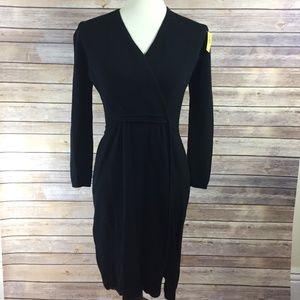 St. John Black Knit Long Sleeve Dress